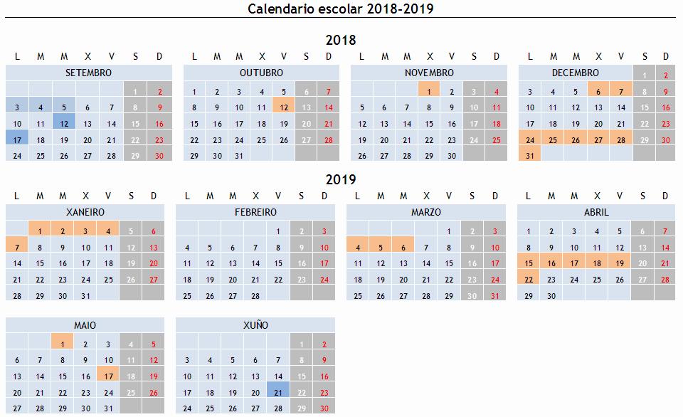 Calendario Escolar Galicia 2020 Y 2019.Calendario Escolar 2018 2019 Colexio Luis Vives